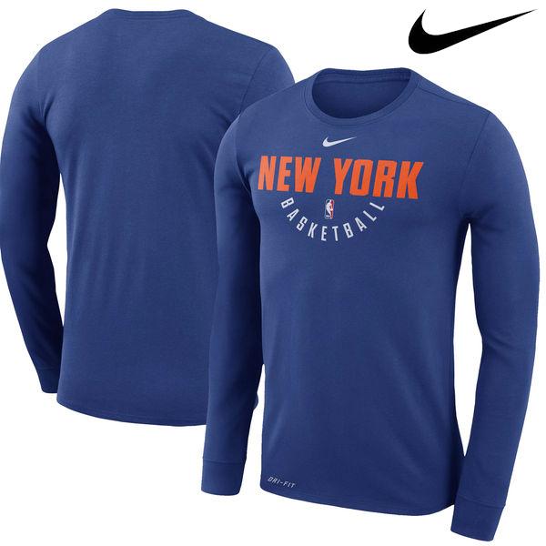 お取り寄せ NBA Nike/ナイキ ニックス プラクティス ロングスリーブ パフォーマンス Tシャツ ブルー