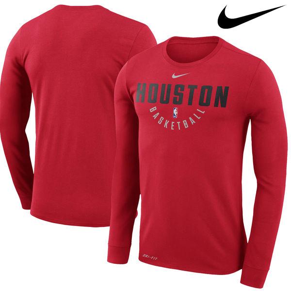 お取り寄せ NBA Nike/ナイキ ロケッツ プラクティス ロングスリーブ パフォーマンス Tシャツ レッド
