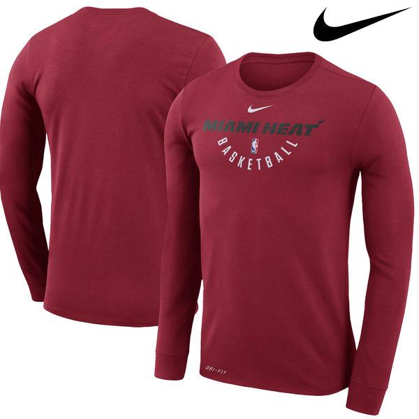 お取り寄せ NBA Nike/ナイキ ヒート プラクティス ロングスリーブ パフォーマンス Tシャツ レッド