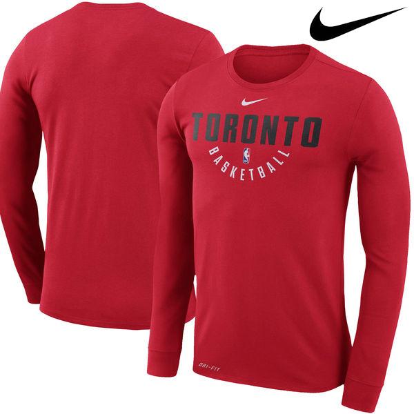 お取り寄せ NBA Nike/ナイキ ラプターズ プラクティス ロングスリーブ パフォーマンス Tシャツ レッド