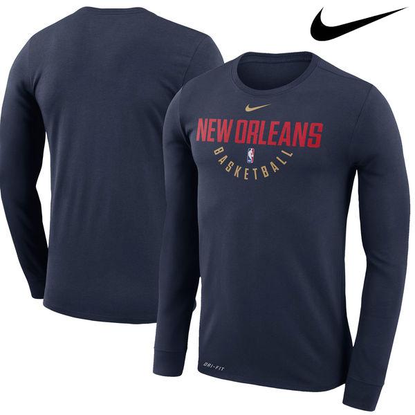 お取り寄せ NBA Nike/ナイキ ペリカンズ プラクティス ロングスリーブ パフォーマンス Tシャツ ネイビー