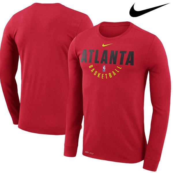 お取り寄せ NBA Nike/ナイキ ホークス プラクティス ロングスリーブ パフォーマンス Tシャツ レッド