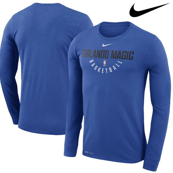 お取り寄せ NBA Nike/ナイキ マジック プラクティス ロングスリーブ パフォーマンス Tシャツ ブルー