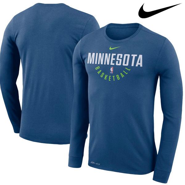 お取り寄せ NBA Nike/ナイキ ティンバーウルブズ プラクティス ロングスリーブ パフォーマンス Tシャツ ブルー