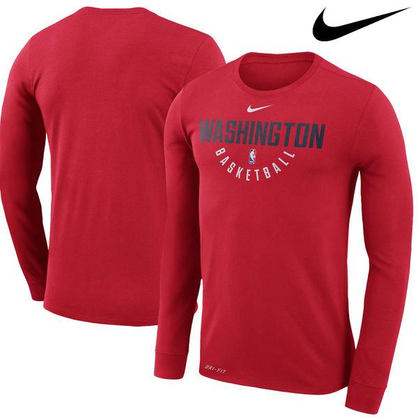 お取り寄せ NBA Nike/ナイキ ウィザーズ プラクティス ロングスリーブ パフォーマンス Tシャツ レッド