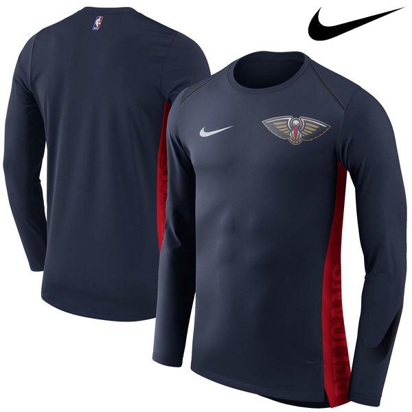 お取り寄せ NBA Nike/ナイキ ペリカンズ エリート シューター パフォーマンス ロングスリーブ Tシャツ ネイビー