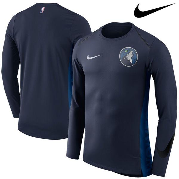 お取り寄せ NBA Nike/ナイキ ティンバーウルブズ エリート シューター パフォーマンス ロングスリーブ Tシャツ ネイビー