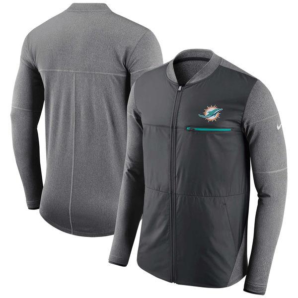 お取り寄せ NFL ドルフィンズ サイドライン シールド ハイブリッド フルジップ ジャケット ナイキ/Nike アンスラサイト
