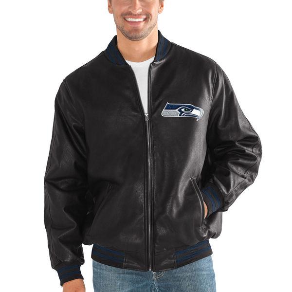 NFL シーホークス スティッフ アーム プレザー バーシティー ジャケット G-III ブラック
