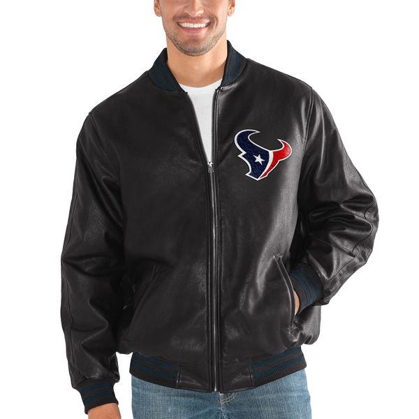 お取り寄せ NFL テキサンズ スティッフ アーム プレザー バーシティー ジャケット G-III ブラック