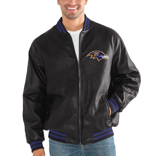 お取り寄せ NFL レイブンズ スティッフ アーム プレザー バーシティー ジャケット G-III ブラック