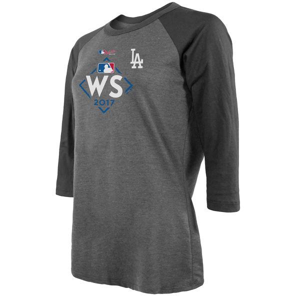 お取り寄せ MLB ドジャース 2017 ワールドシリーズ進出記念 トライブレンド 3/4 スリーブ レディース Tシャツ マジェスティック/Majestic グレー