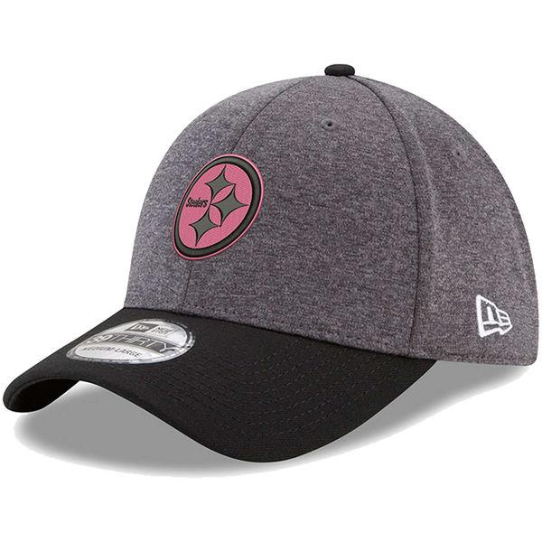 NFL スティーラーズ ピンク フック 39THIRTY フレックス キャップ/帽子 ニューエラ/New Era グラファイト/ブラック