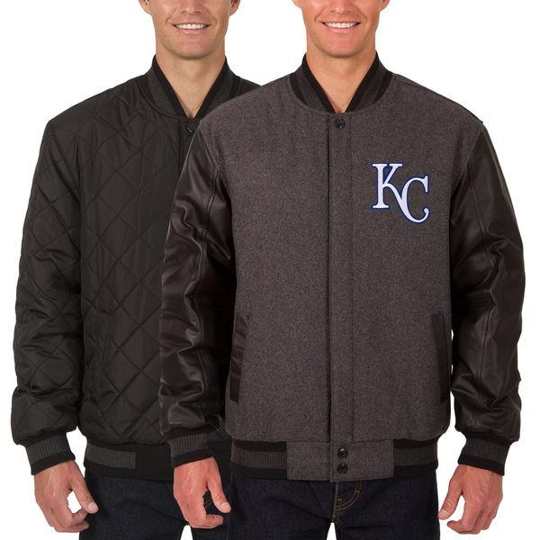 お取り寄せ MLB ロイヤルズ ウール レザー リバーシブル フルスナップ ジャケット JH デザイン/JH Design チャコール/ブラック