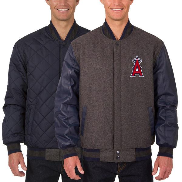 お取り寄せ MLB エンゼルス ウール レザー リバーシブル フルスナップ ジャケット JH デザイン/JH Design チャコール/ネイビー