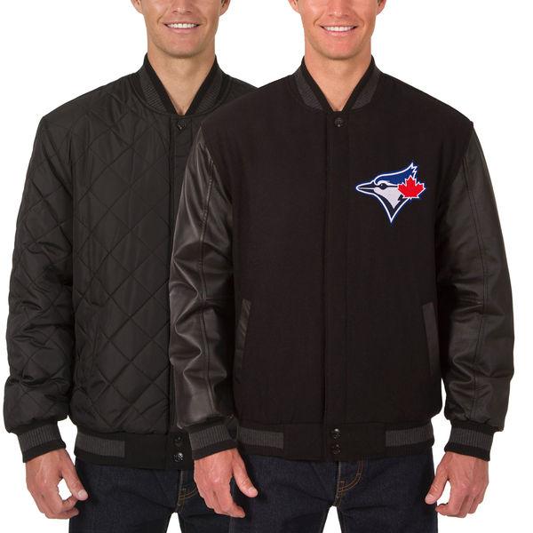 お取り寄せ MLB ブルージェイズ ウール レザー リバーシブル フルスナップ ジャケット JH デザイン/JH Design ブラック