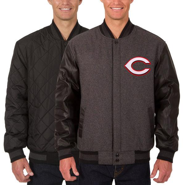 お取り寄せ MLB レッズ ウール レザー リバーシブル フルスナップ ジャケット JH デザイン/JH Design チャコール/ブラック