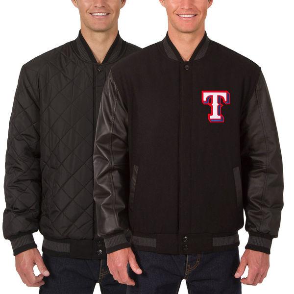 お取り寄せ MLB レンジャーズ ウール レザー リバーシブル フルスナップ ジャケット JH デザイン/JH Design チャコール/ブラック