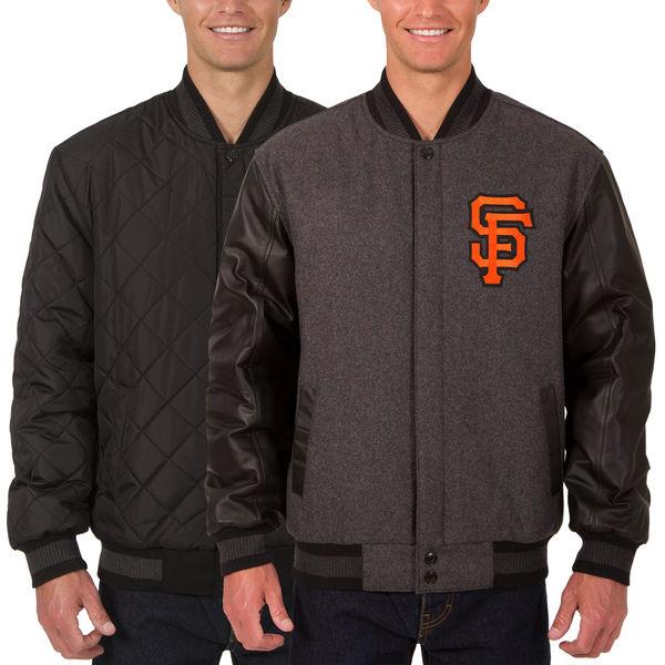 お取り寄せ MLB ジャイアンツ ウール レザー リバーシブル フルスナップ ジャケット JH デザイン/JH Design チャコール/ブラック