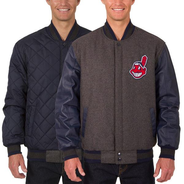 お取り寄せ MLB インディアンス ウール レザー リバーシブル フルスナップ ジャケット JH デザイン/JH Design チャコール/ネイビー【ワフー酋長ロゴ】