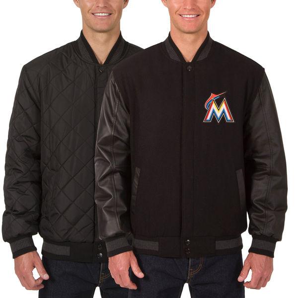 お取り寄せ MLB マーリンズ ウール レザー リバーシブル フルスナップ ジャケット JH デザイン/JH Design ブラック