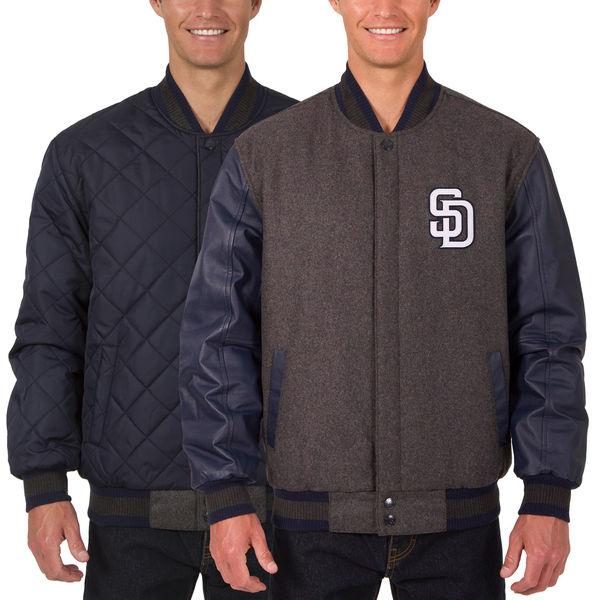 お取り寄せ MLB パドレス ウール レザー リバーシブル フルスナップ ジャケット JH デザイン/JH Design チャコール/ネイビー