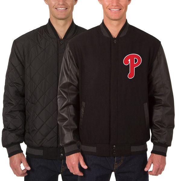 お取り寄せ MLB フィリーズ ウール レザー リバーシブル フルスナップ ジャケット JH デザイン/JH Design チャコール/ブラック