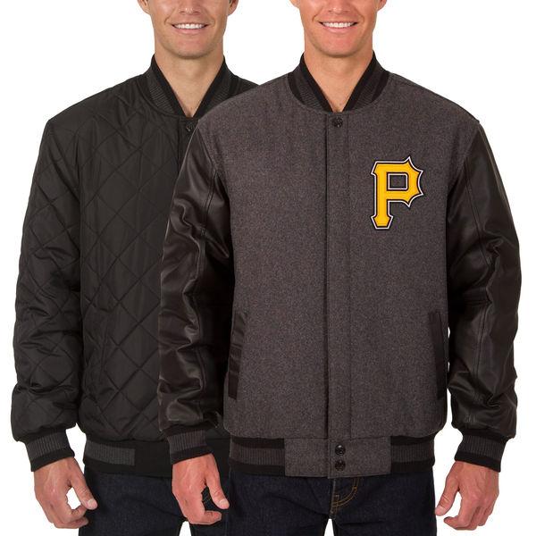 お取り寄せ MLB パイレーツ ウール レザー リバーシブル フルスナップ ジャケット JH デザイン/JH Design チャコール/ブラック