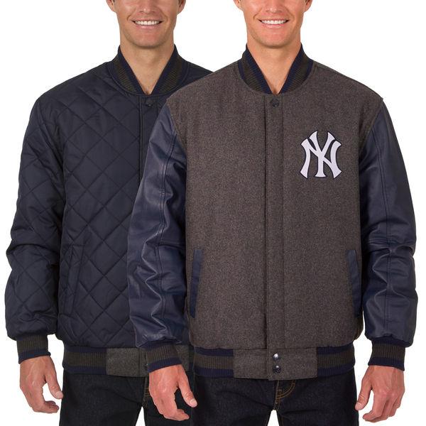 お取り寄せ MLB ヤンキース ウール レザー リバーシブル フルスナップ ジャケット JH デザイン/JH Design チャコール/ネイビー