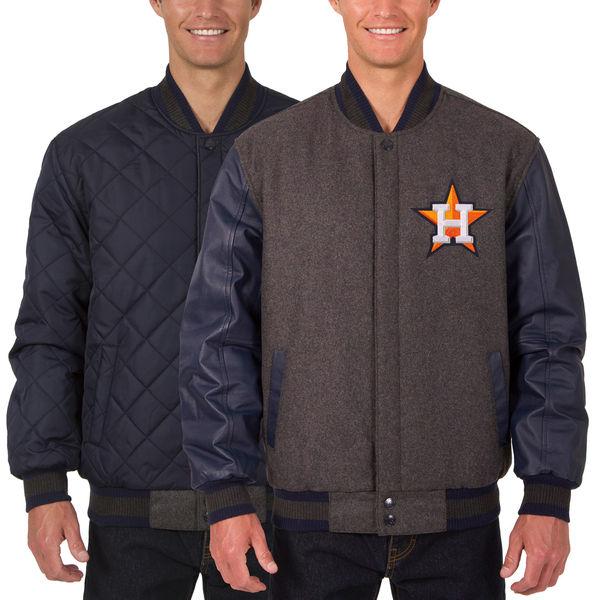 お取り寄せ MLB アストロズ ウール レザー リバーシブル フルスナップ ジャケット JH デザイン/JH Design チャコール/ネイビー