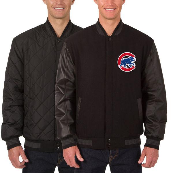 お取り寄せ MLB カブス ウール レザー リバーシブル フルスナップ ジャケット JH デザイン/JH Design ブラック