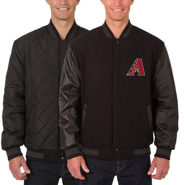 お取り寄せ MLB ダイヤモンドバックス ウール レザー リバーシブル フルスナップ ジャケット JH デザイン/JH Design ブラック