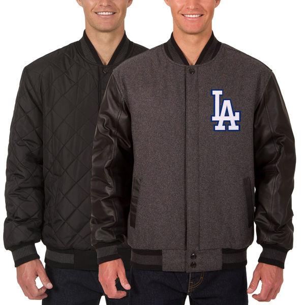 お取り寄せ MLB ドジャース ウール レザー リバーシブル フルスナップ ジャケット JH デザイン/JH Design チャコール/ブラック