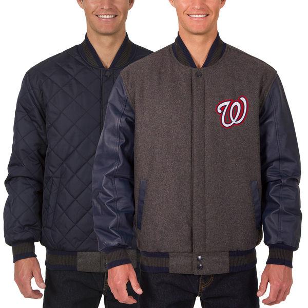 お取り寄せ MLB ナショナルズ ウール レザー リバーシブル フルスナップ ジャケット JH デザイン/JH Design チャコール/ネイビー