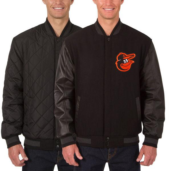 お取り寄せ MLB オリオールズ ウール レザー リバーシブル フルスナップ ジャケット JH デザイン/JH Design ブラック