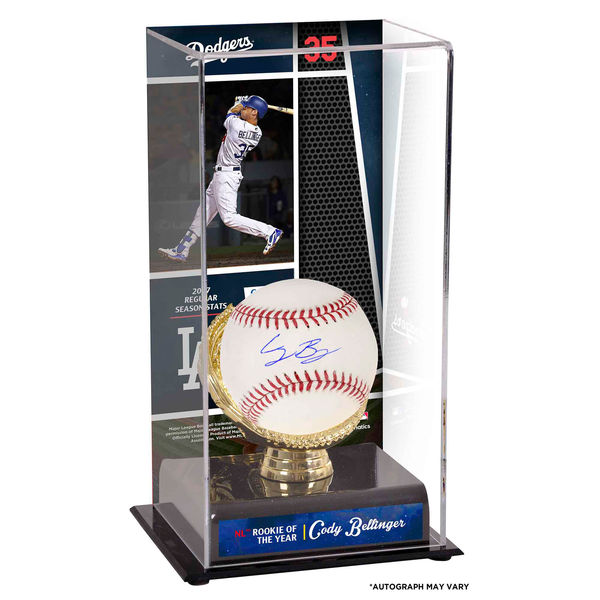 お取り寄せ MLB ドジャース コディ・ベリンジャー 2017 ナ・リーグ ルーキー・オブ・ザ・イヤー/新人王記念 ケース付き 直筆サインボール