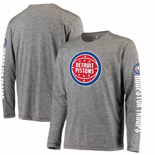 お取り寄せ NBA ピストンズ Hoops For Troops メイド トゥ ムーブ ロングスリーブ Tシャツ ヘザーグレー