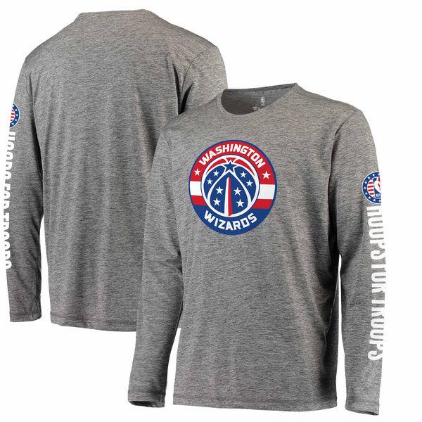 お取り寄せ NBA ウィザーズ Hoops For Troops メイド トゥ ムーブ ロングスリーブ Tシャツ ヘザーグレー