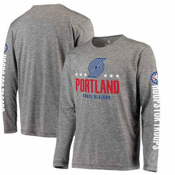 お取り寄せ NBA トレイルブレイザーズ Hoops For Troops メイド トゥ ムーブ ロングスリーブ Tシャツ ヘザーグレー