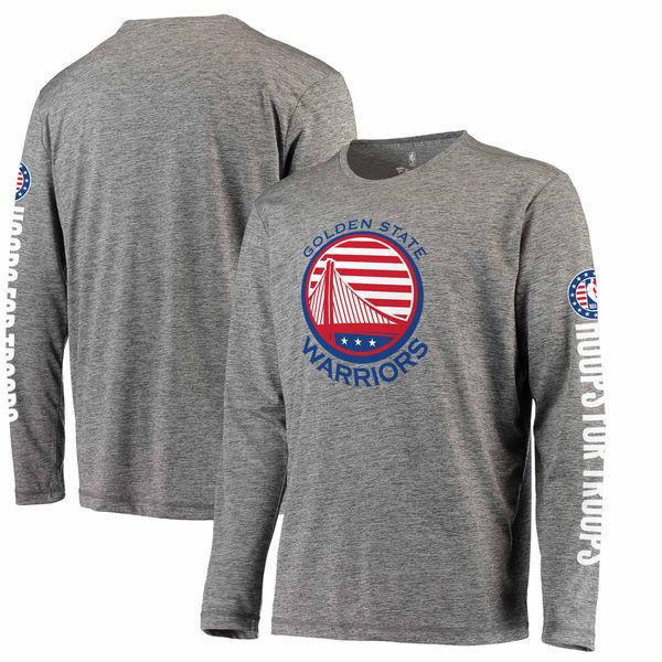 お取り寄せ NBA ウォリアーズ Hoops For Troops メイド トゥ ムーブ ロングスリーブ Tシャツ ヘザーグレー