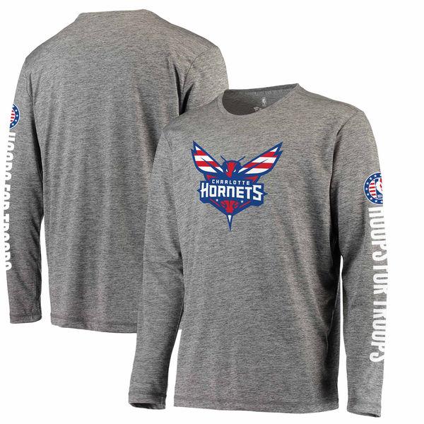 お取り寄せ NBA ホーネッツ Hoops For Troops メイド トゥ ムーブ ロングスリーブ Tシャツ ヘザーグレー