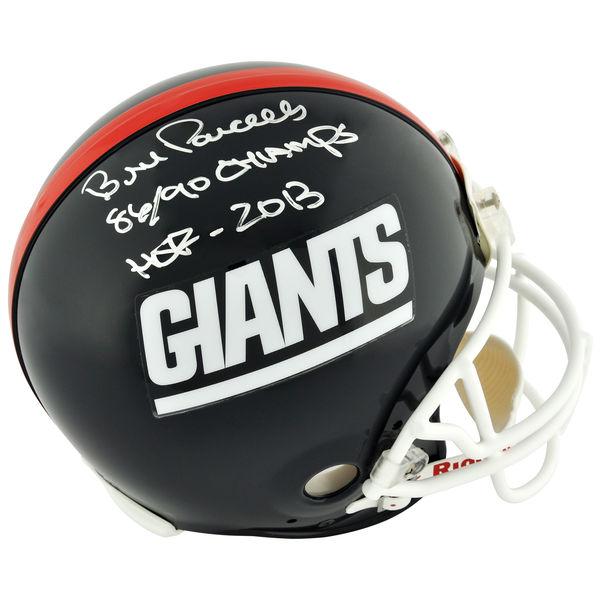 お取り寄せ NFL ジャイアンツ ビル・パーセルズ 直筆サイン入り オーセンティック ヘルメット 2013 殿堂入り記念 リデル/Riddell
