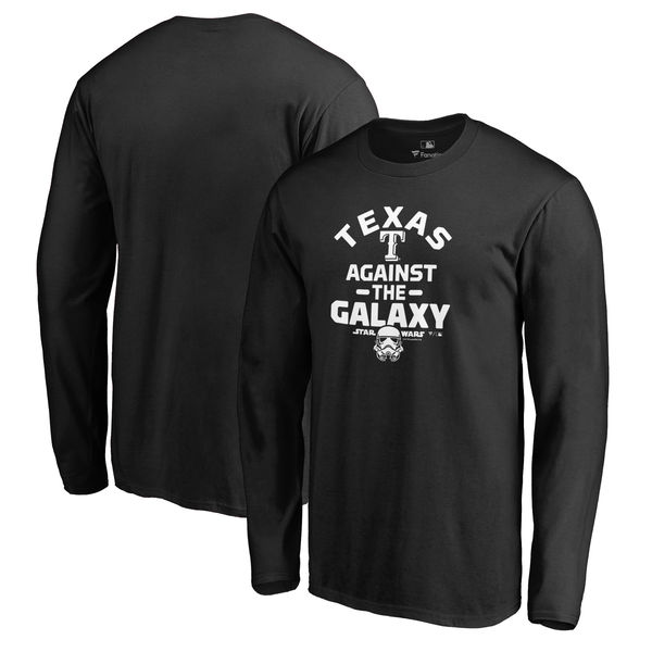 お取り寄せ MLB レンジャーズ スター・ウォーズ アゲインスト ザ ギャラクシー ロングスリーブ Tシャツ 長袖 ブラック