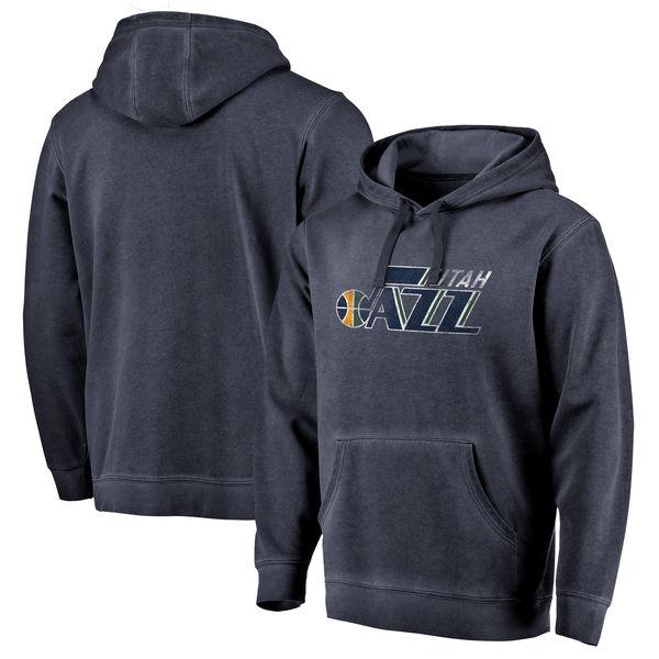 お取り寄せ NBA ジャズ ディストレスド ロゴ ウォッシュド パーカー/トレーナー ネイビー
