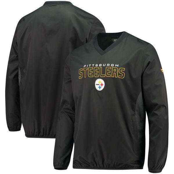 お取り寄せ NFL スティーラーズ アイコニック ウーブン Vネック クルー プルオーバー ジャケット/アウター ブラック