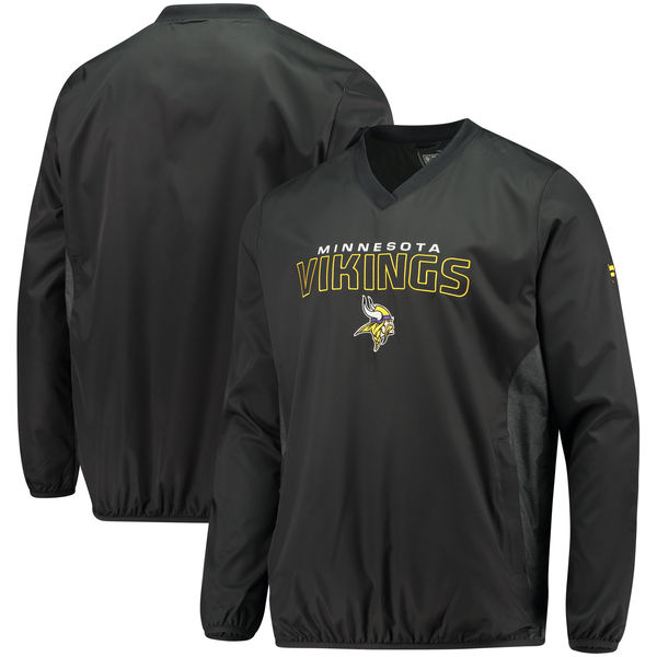 お取り寄せ NFL バイキングス アイコニック ウーブン Vネック クルー プルオーバー ジャケット/アウター ブラック