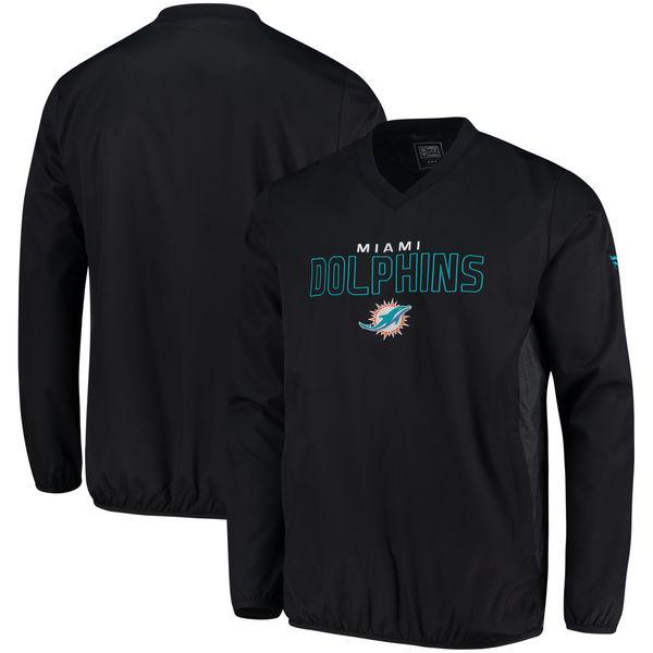 お取り寄せ NFL ドルフィンズ アイコニック ウーブン Vネック クルー プルオーバー ジャケット/アウター ブラック