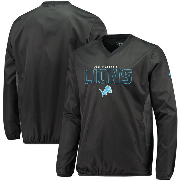 NFL ライオンズ アイコニック ウーブン Vネック クルー プルオーバー ジャケット/アウター ブラック