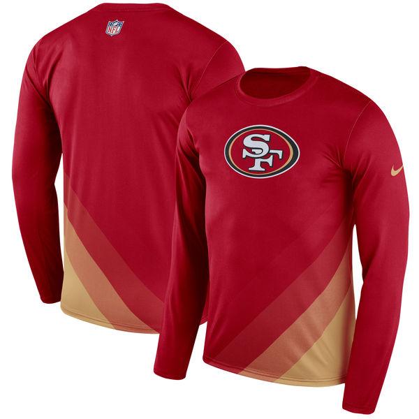 お取り寄せ NFL 49ers サイドライン レジェンド プリズム パフォーマンス ロングスリーブ Tシャツ 長袖 ナイキ/Nike スカーレット