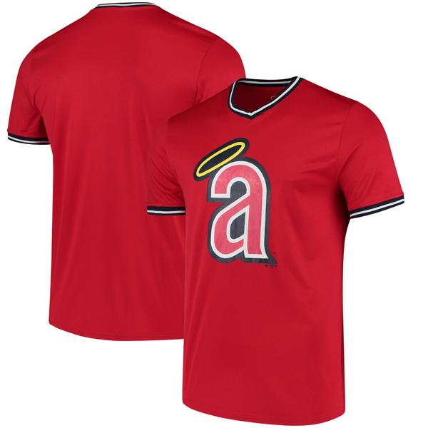 お取り寄せ MLB エンゼルス オーバータイム アシスト Vネック Tシャツ レッド